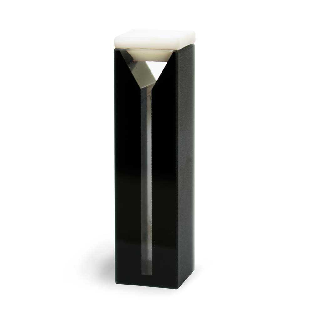 Microcubeta Vidro Óptico Quadrada, 10 mm, Laterais Pretas, Volume 0,7