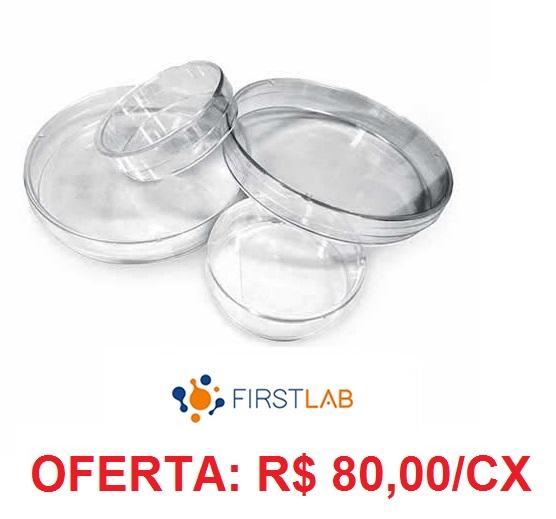 Placa de Petri 90x15mm Descartável cx c/200 Unidades Firstlab