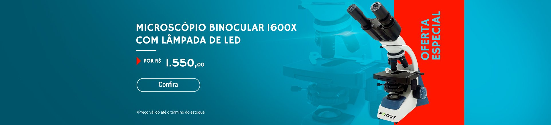 Microscópio Binocular 1600x com lâmpada de LED